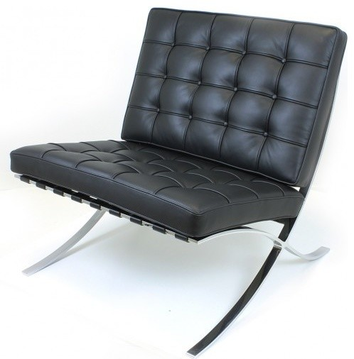 Barcelona Chair Reproduction   Aniline Leather, Black