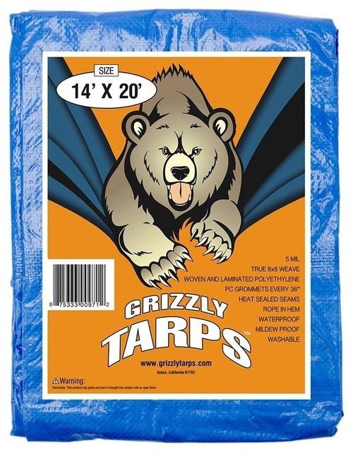 Grizzly Blue Multi Purpose 5 Mil 8x8 Weave Waterproof Poly Tarp, 14x20.