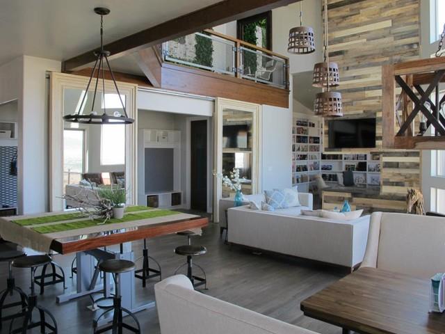 Mirrored Barn Doors In A Living Room Modern