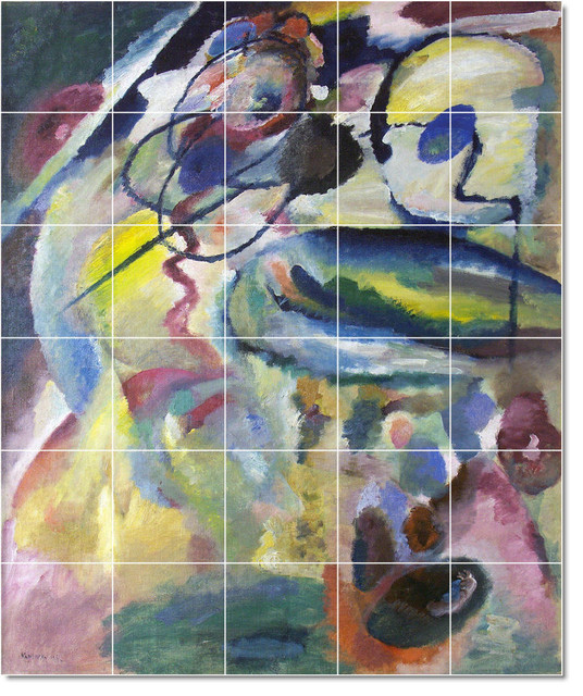 Wassily kandinsky abstract painting ceramic tile mural 56 for Ceramic mural painting