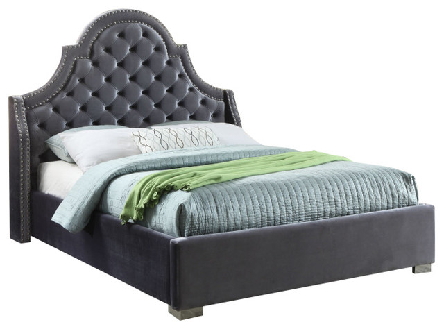 Coloma Velvet Bed, Gray, King.