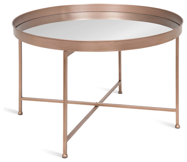 Celia Round Mirrored Coffee Table Rose Gold 2825x2825x19