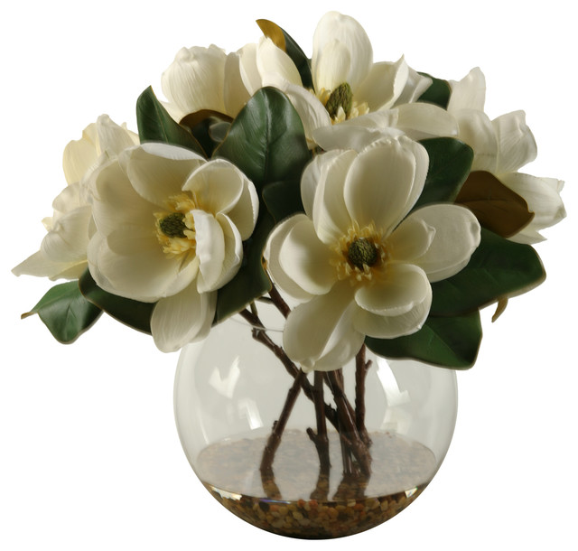 Cream Magnolias In Clear Gl Bubble Bowl