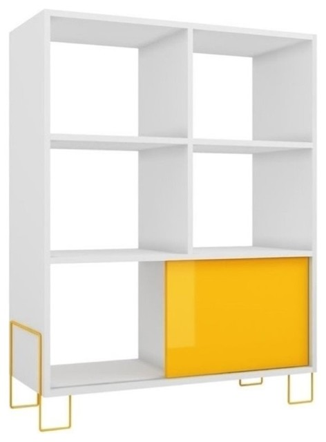 Bowery Hill 6-Cubby Bookcase, White And Yellow.