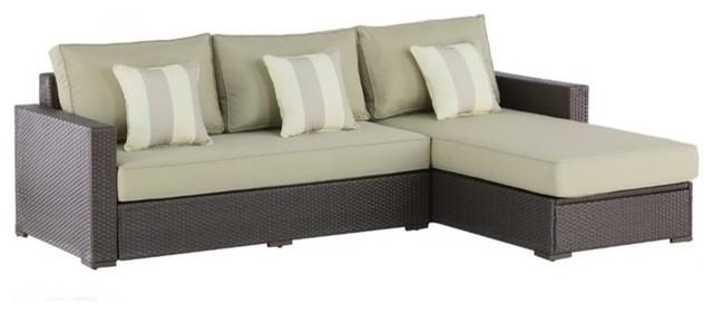 Serta Laguna Wicker Patio Storage Sectional With Cushions, Brown.