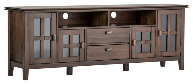 Clayton Wooden Tv Stand, Natural Aged Brown