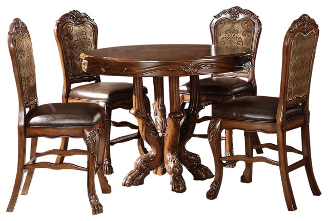 dresden elegant formal round counter height 5piece dining table set