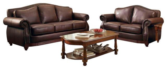 Homelegance Midwood 3-Piece Living Room Set in Dark Brown Leather ...