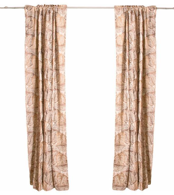Rod Pocket Drapes Embroidered Autumn Leaves Single Panel