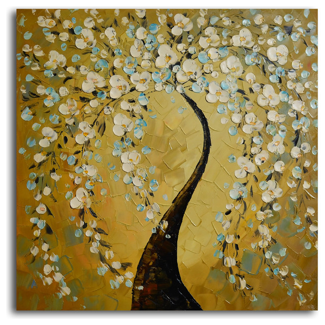 Shimmering bow Hand Painted Oil Painting - Modern - Artwork - by My ...