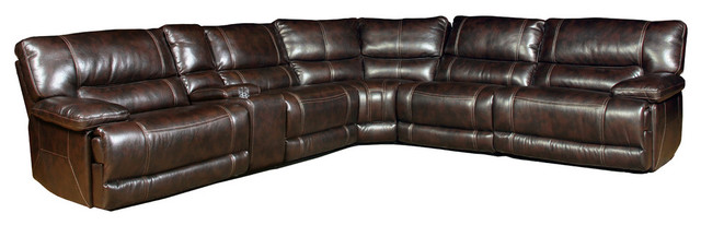 Parker House Pegasus 6-Piece Power Recliner Sectional, Nutmeg.