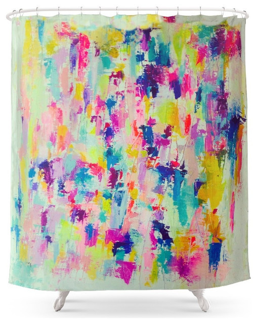 Http Www Houzz Com Photos 59720266 Society6 Bright Neon Colorful Abstract Painting Shower Curtain Eclectic Shower Curtains