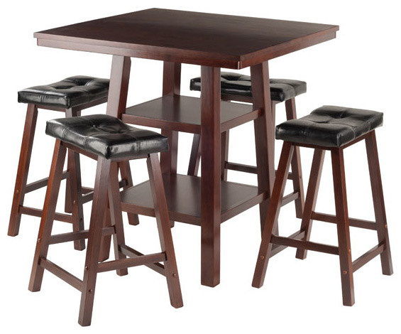 Orlando High Table With 4 Cushion Seat Stools, 5-Piece Set.