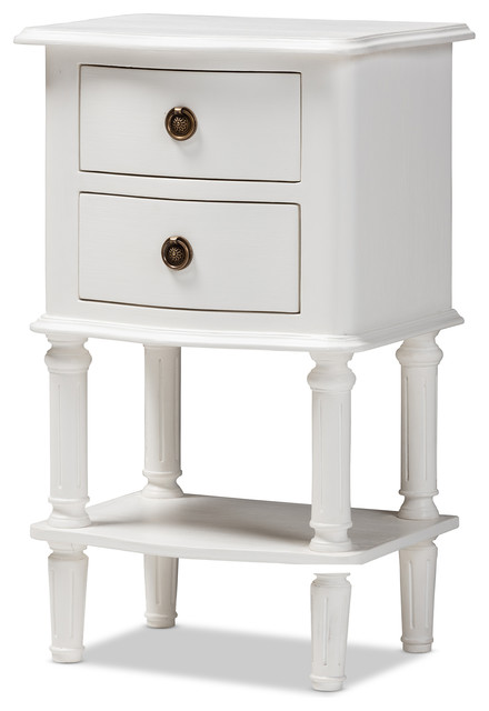 Audrey Country Cottage Farmhouse White 2-Drawer Nightstand.