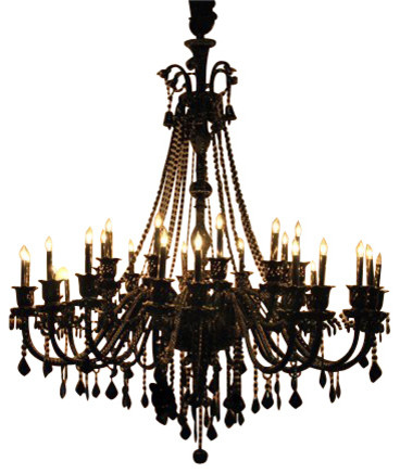 Chandelier Black Crystal: Jet Black Crystal Chandelier With 30-Lights traditional-chandeliers,Lighting