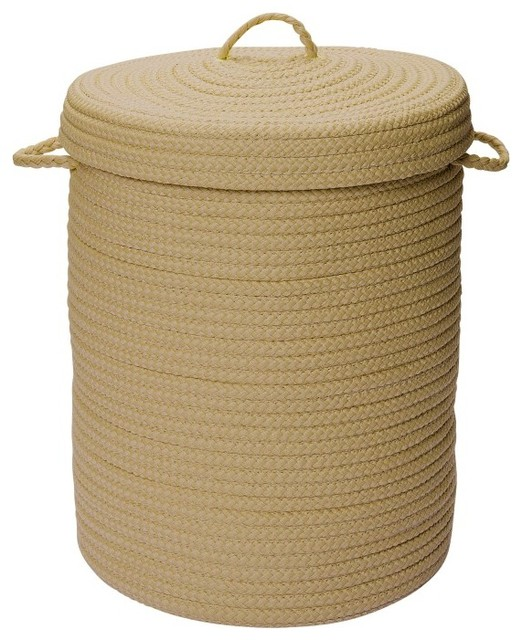 """Simply Home Hamper With Lid Rug, Cuban Sand 18""""x18""""x30""""."""
