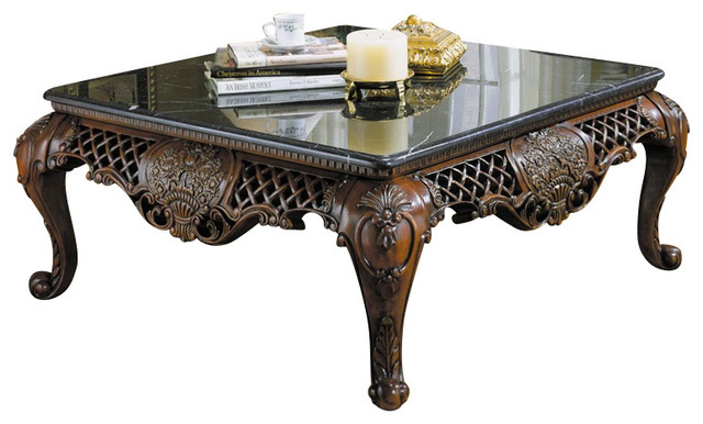 Homelegance Gladstone 3 Piece Square Coffee Table Set With Marble Top Traditional