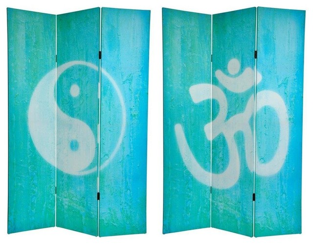 Tall Double Sided Yin Yang/Om Canvas Room Divider eclectic-screens - 6 Ft. Tall Double Sided Yin Yang/Om Canvas Room Divider - Screens