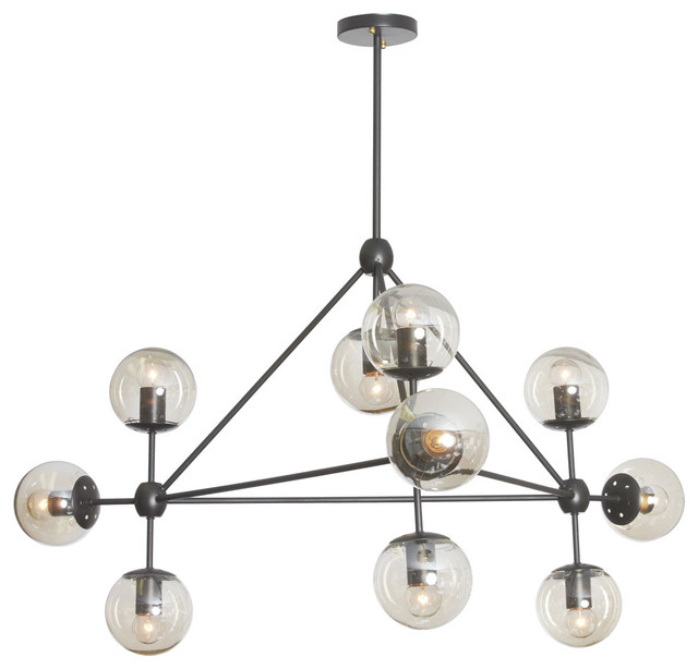 Domi 10 Light Chandelier Matte Black