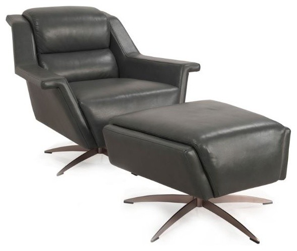 Amazing Kaato Full Top Grain Leather Swivel Chair And Ottoman Ncnpc Chair Design For Home Ncnpcorg