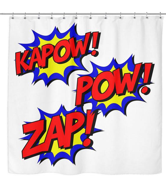 Kapow zap pow comic book shower curtain for kids super for Superhero shower curtain