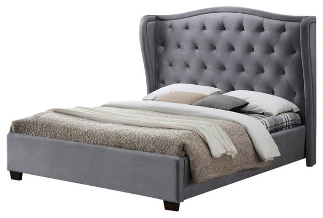 Lauren Upholstered Bed Frame, King, Grey