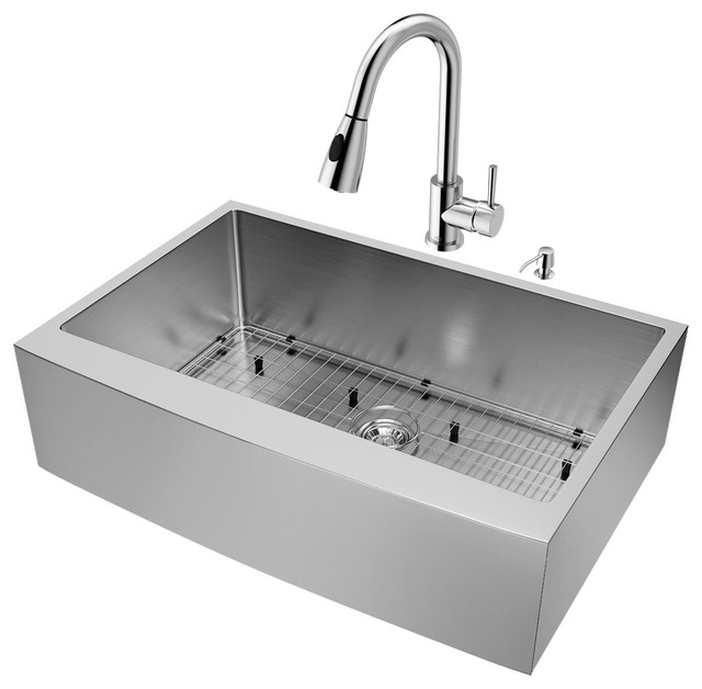 "Vigo All-In-One 33"" Bedford Stainless Steel Farmhouse Kitchen Sink Set."