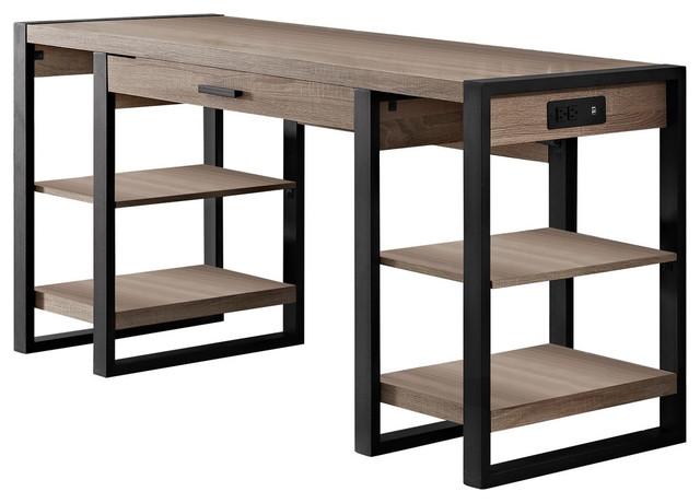 Urban Blend Storage Desk, Driftwood and Black, 60
