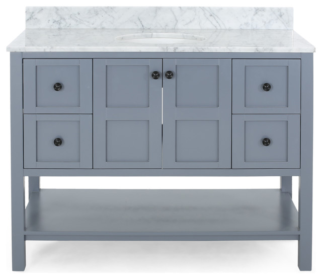 """Anna Contemporary 48"""" Wood Single Sink Bathroom Vanity With Marble Counter Top"""