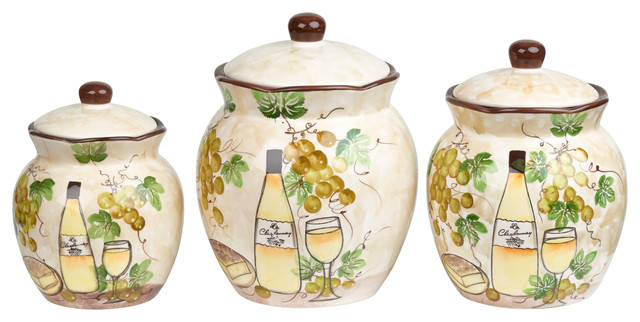 White Grape Ceramic 3 Piece Deluxe Canister Set.