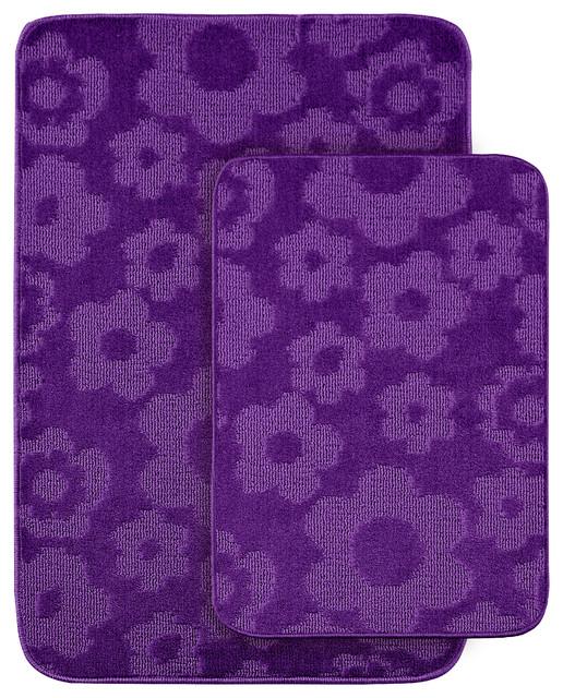 Purple Bathroom Mat Sets: Flower Two Piece Bath Rug Set, Lime Green