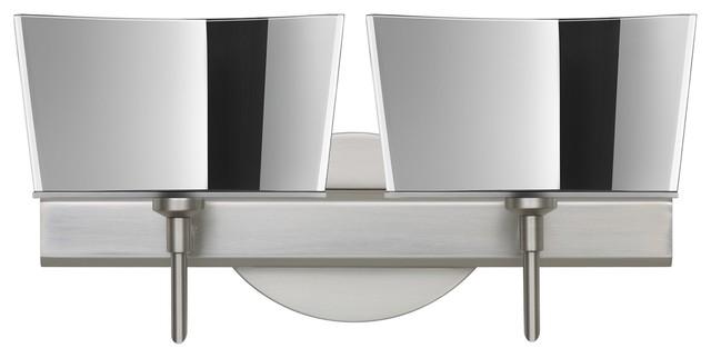 Satin Nickel Ceiling Lights Bathroom Vanity Chandelier: Besa Groove Vanity, Opal Matte, Satin Nickel