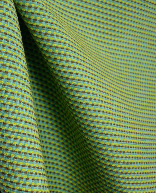 Hello Turquoise Chenille Check Fabric