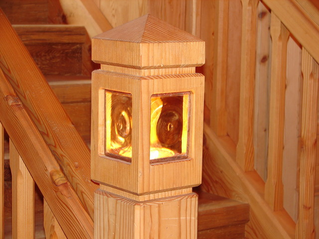 Beautiful Stair Newel Post With Built In Lighting Rustic