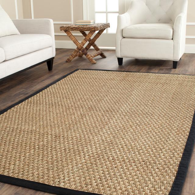 Safavieh Chesten Natural Fiber Rug, Natural And Black, 10&x27;x10&x27; Square.