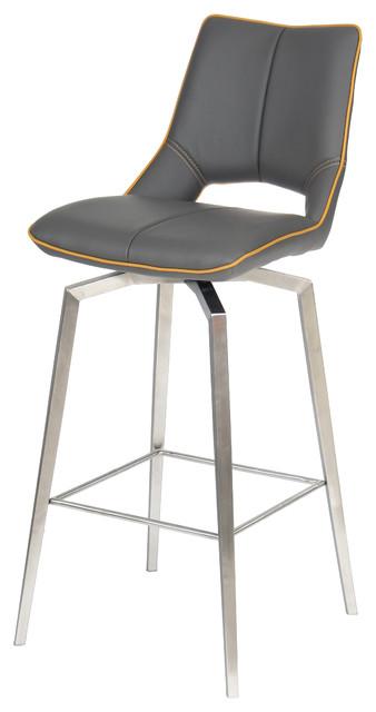 Aspen Faux Leather Swivel Bar Chair, Graphite Grey