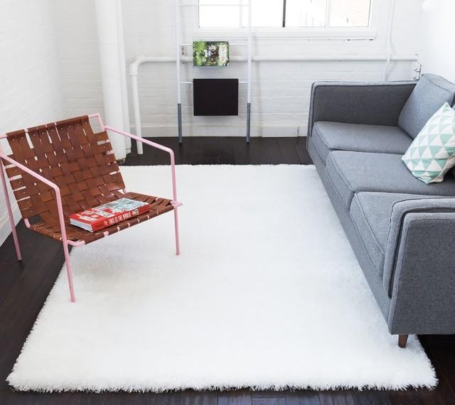 Modern Solid Soft Plush White Area Rug