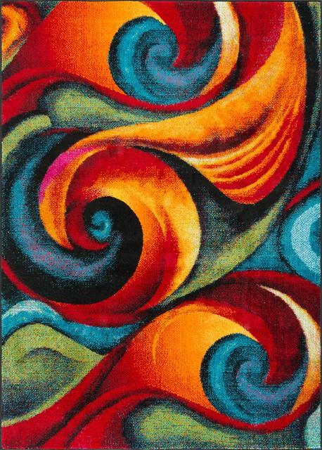Susan Contemporary Abstract Multi-Color Rectangle Area Rug, 5' x 7'