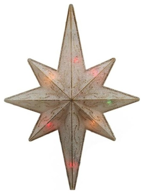 "11"" Frosted Gold Bethlehem Star Christmas Tree Topper."