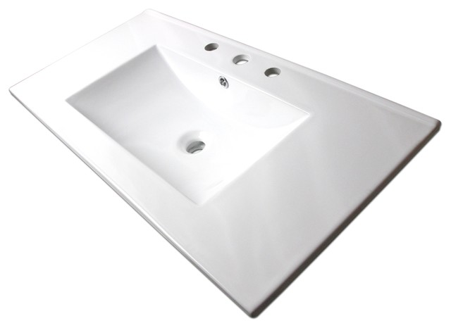 Rectangular Vitreous China Insert Sink With Overflow Contemporary Bathroom  Sinks