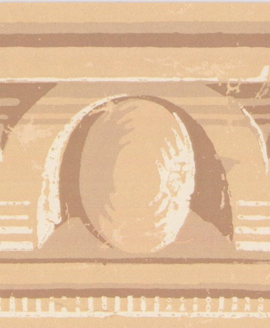 Beige Yellow Brown Abstract Wallpaper Border Vintage