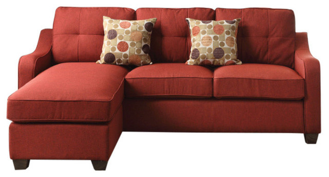 Splendid Sectional Sofa With 2 Pillows, Red Linen.
