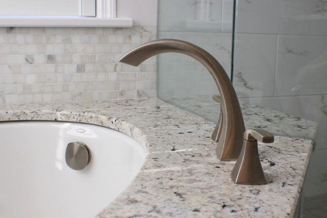 Plank and Marble Master Bath transitional