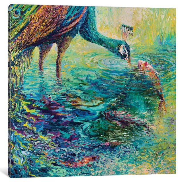 """peacock Diptych Panel Ii Gallery"" By Iris Scott, 37""x37""x1.5""."