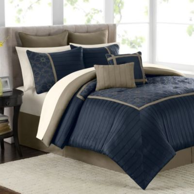 Mira 12 Piece Comforter Set In Navy Contemporary