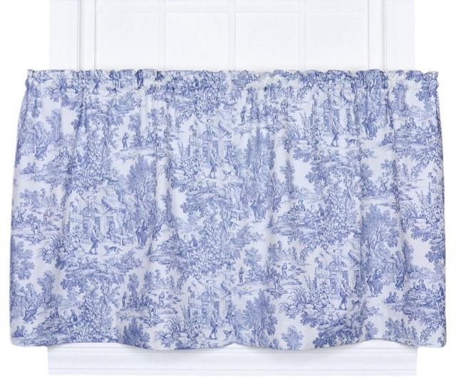 Ells Curtain Ellis Curtain Victoria Park Toile 68 X36 Tailored Tier Curtains Blue View In