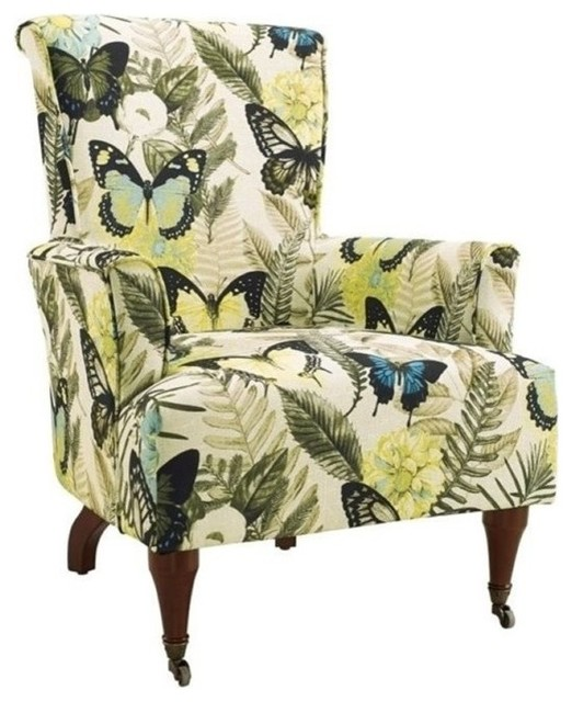 Fine Bowery Hill Botanical Print Accent Chair Gmtry Best Dining Table And Chair Ideas Images Gmtryco
