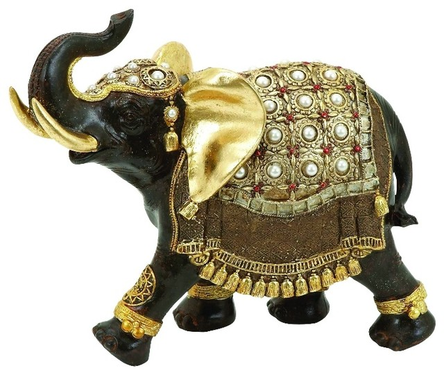 Small Elephant Decor: Exotic Asian Elephant Statue Brown Home