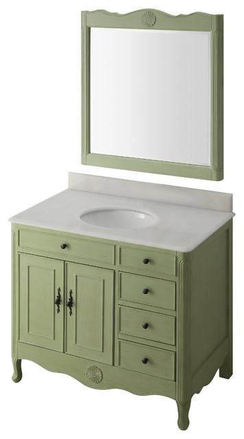 38 Distressed Green Daleville Bathroom Sink Vanity, Add Mirror No Faucet.