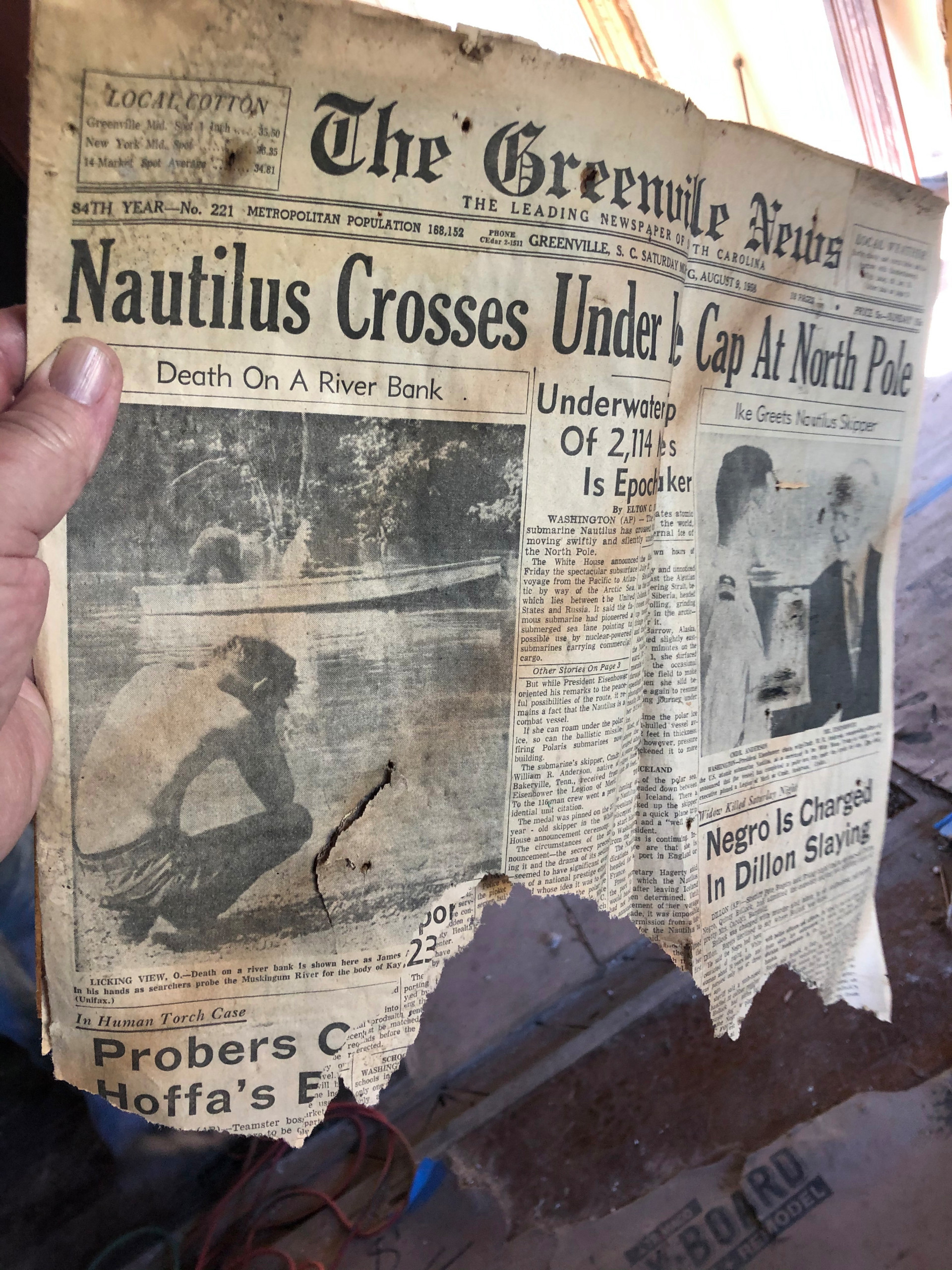 August 1958 Front Page Newspaper